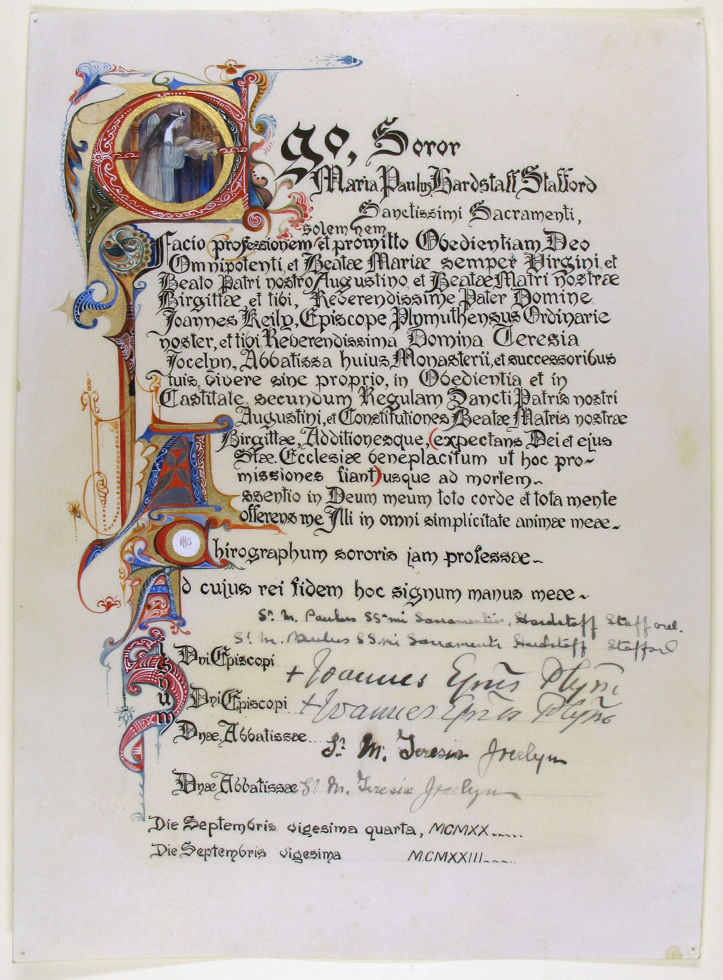 Vow of Sister Mary Paul, dated 1920 and 1923 (Reference EUL MS 389/3084)