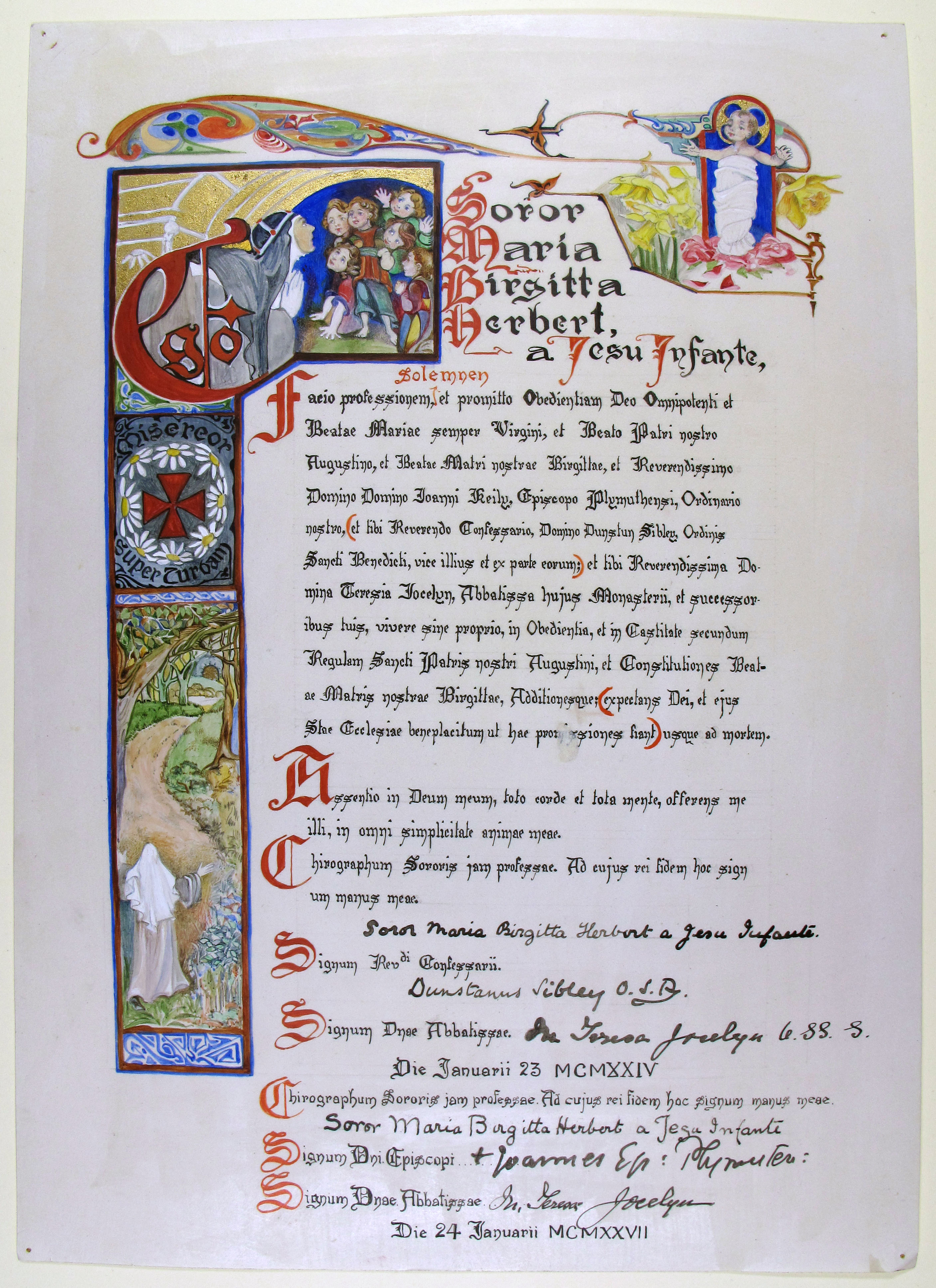 Vow of Sister Mary Bridget, dated 1924 (Reference EUL MS 389/3079)