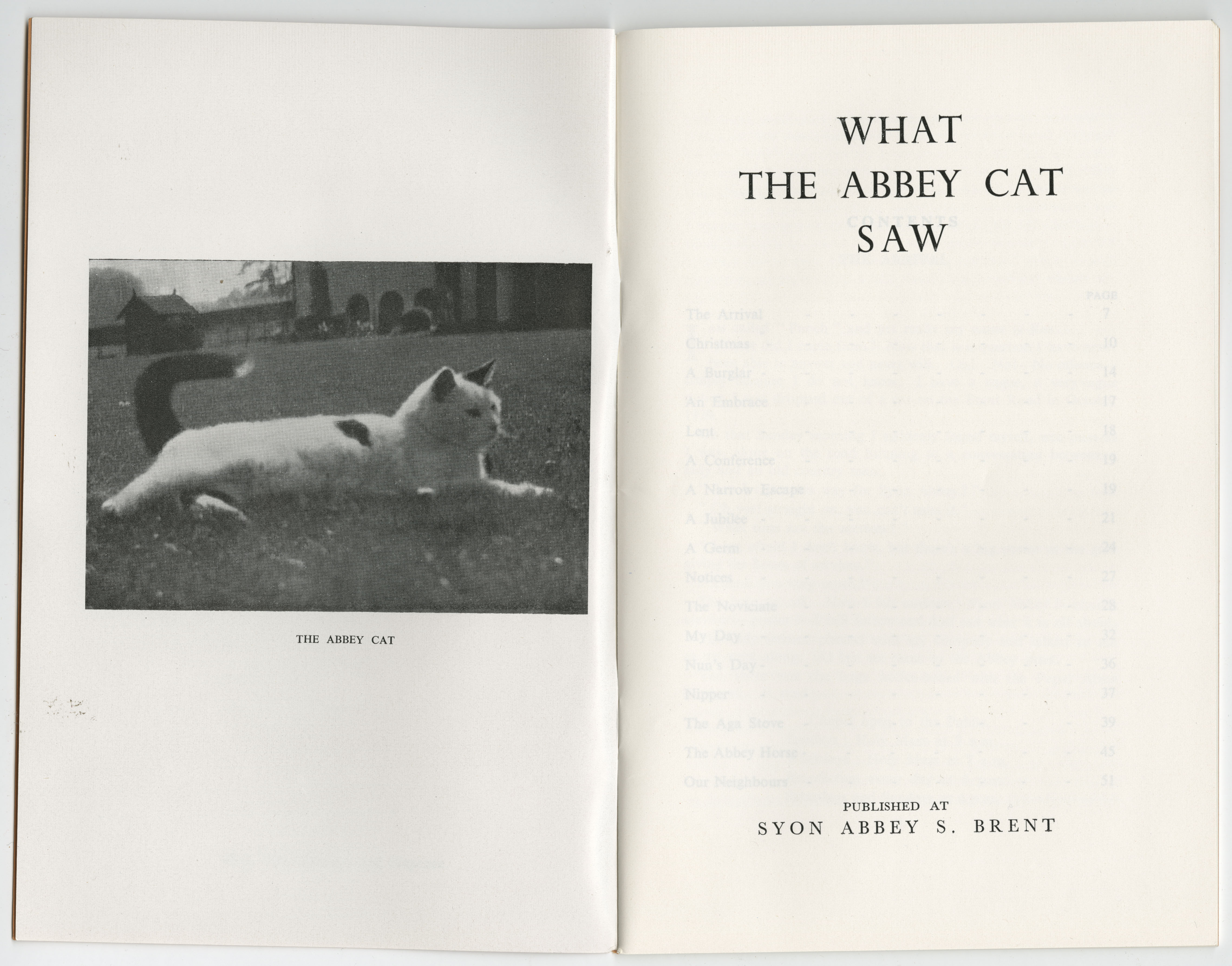 The inside front cover of the pamphlet 'What the Abbey Cat Saw' (ref: EUL MS 389/PUB/2/1)