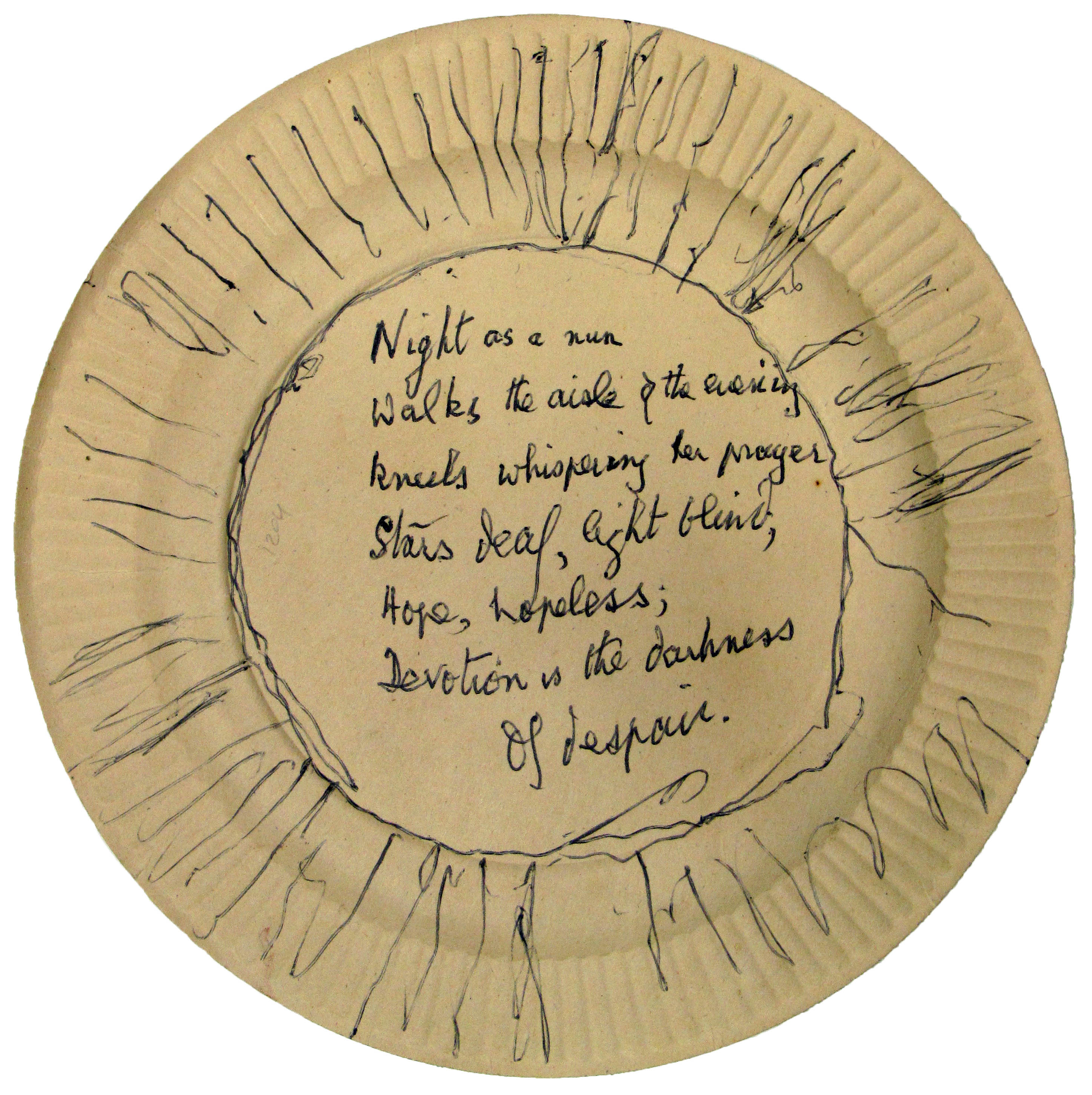EUL MS 397/1024 Unpublished manuscript poem on the back of a paper plate