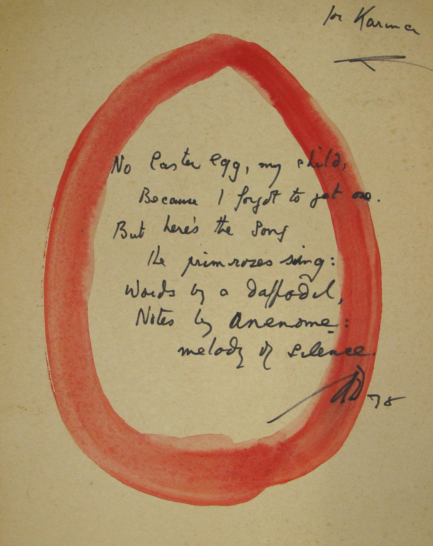 EUL MS 397/1204 manuscript of a published poem written for Duncan's grand-daughter Karina