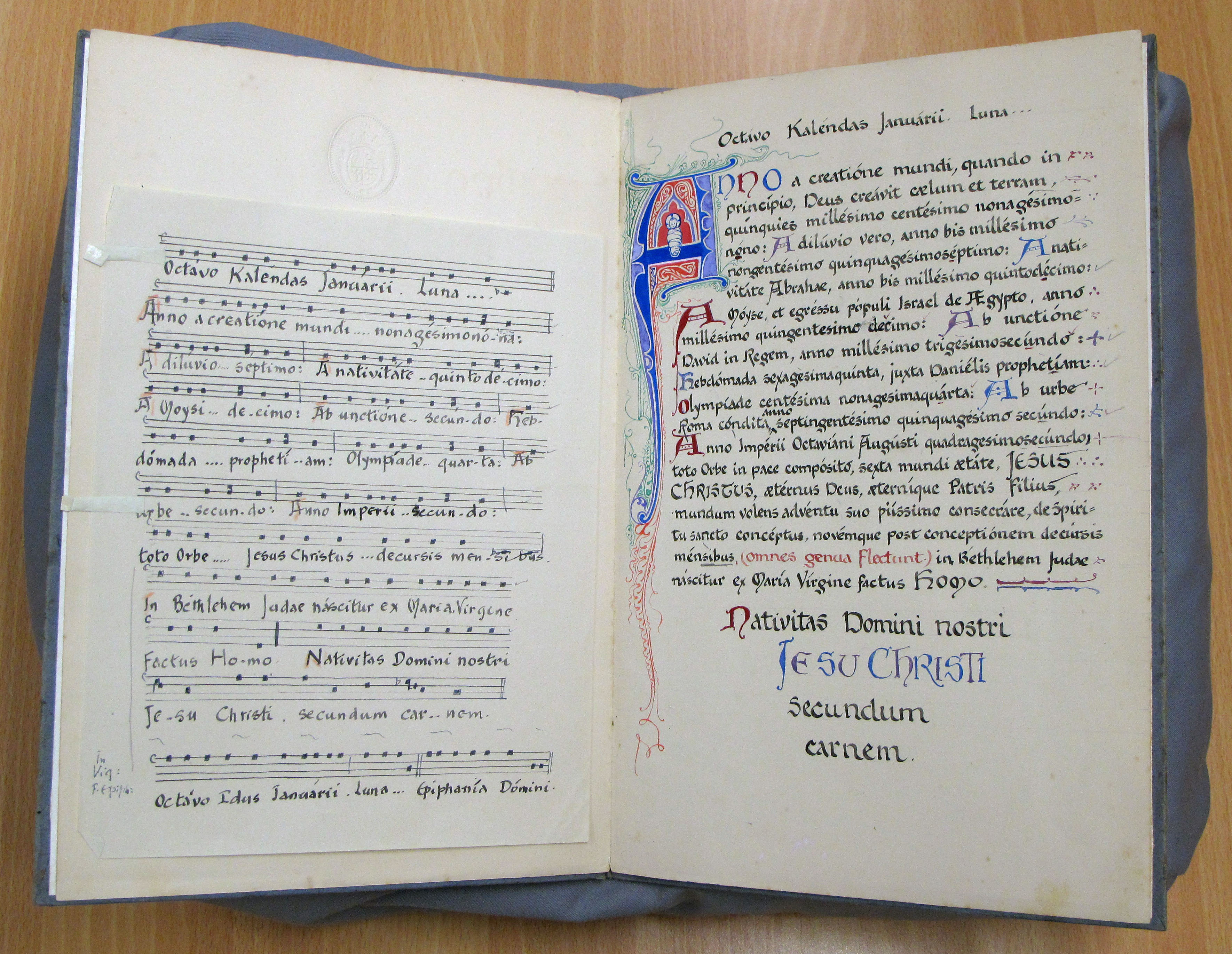 EUL MS 262/add1/111. The Syon melody for the Christmas Martyrology with musical notation entitled 'In Vigilia Nativitatis Dni nri Jhu Xpi', transcribed and illustrated by Sister Mary Stanislas (1952).