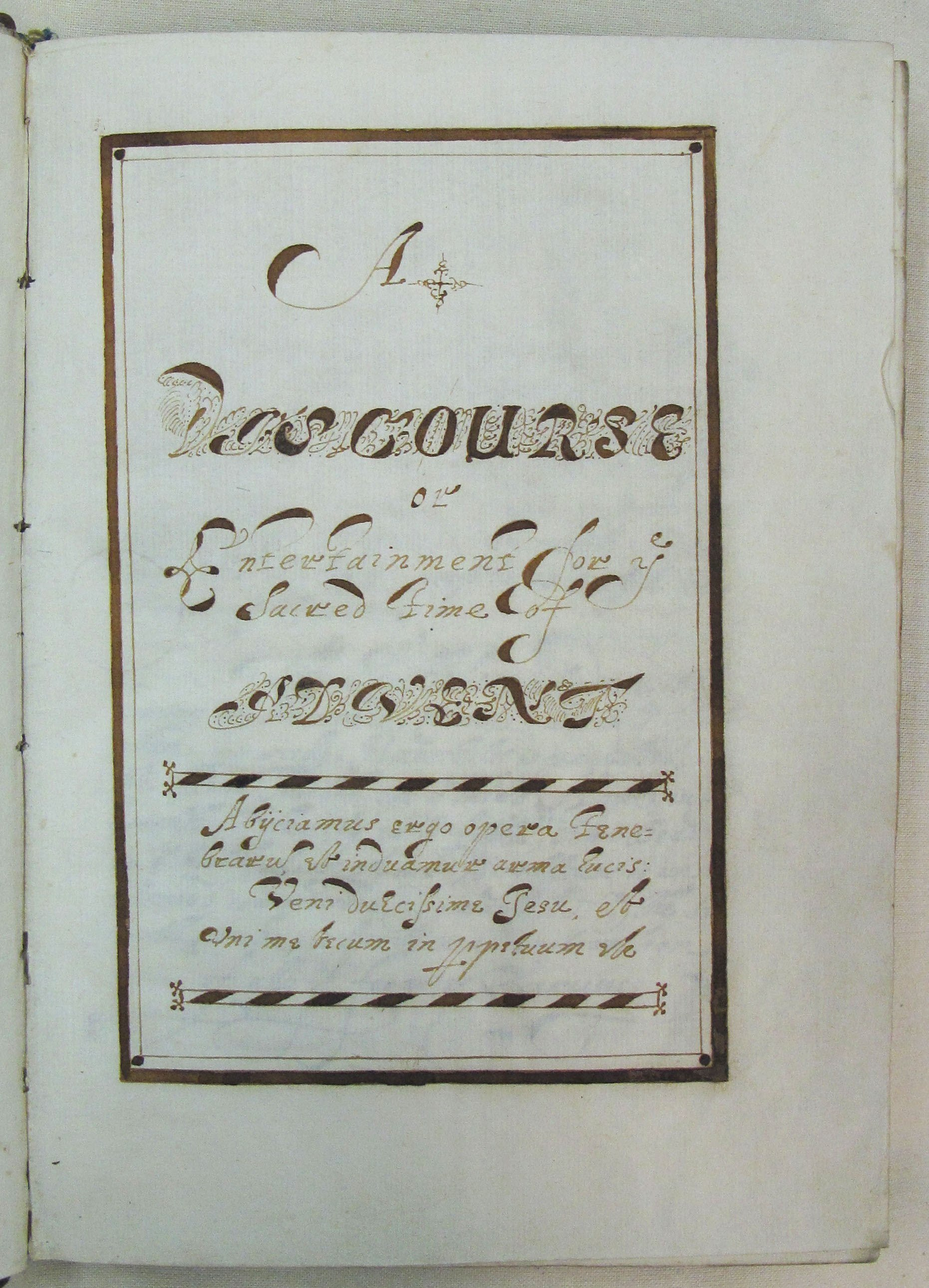 EUL MS 262/add1/5 - Title page of 'A Discourse or Entertainment for ye sacred time of Advent'
