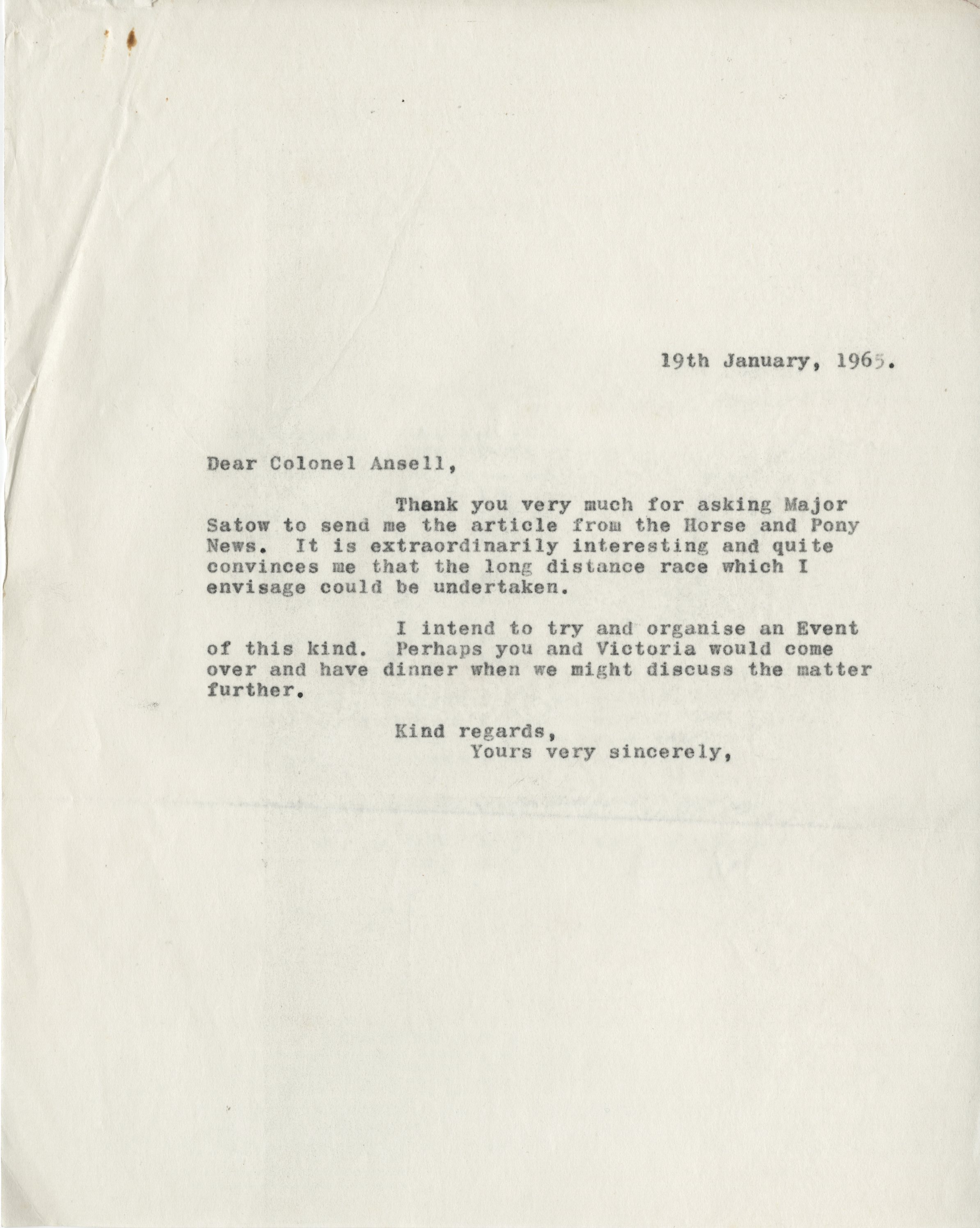 EUL MS 397/1041 Letter from Ronald Duncan to Colonel Sir Mike Ansell (19 January 1965)