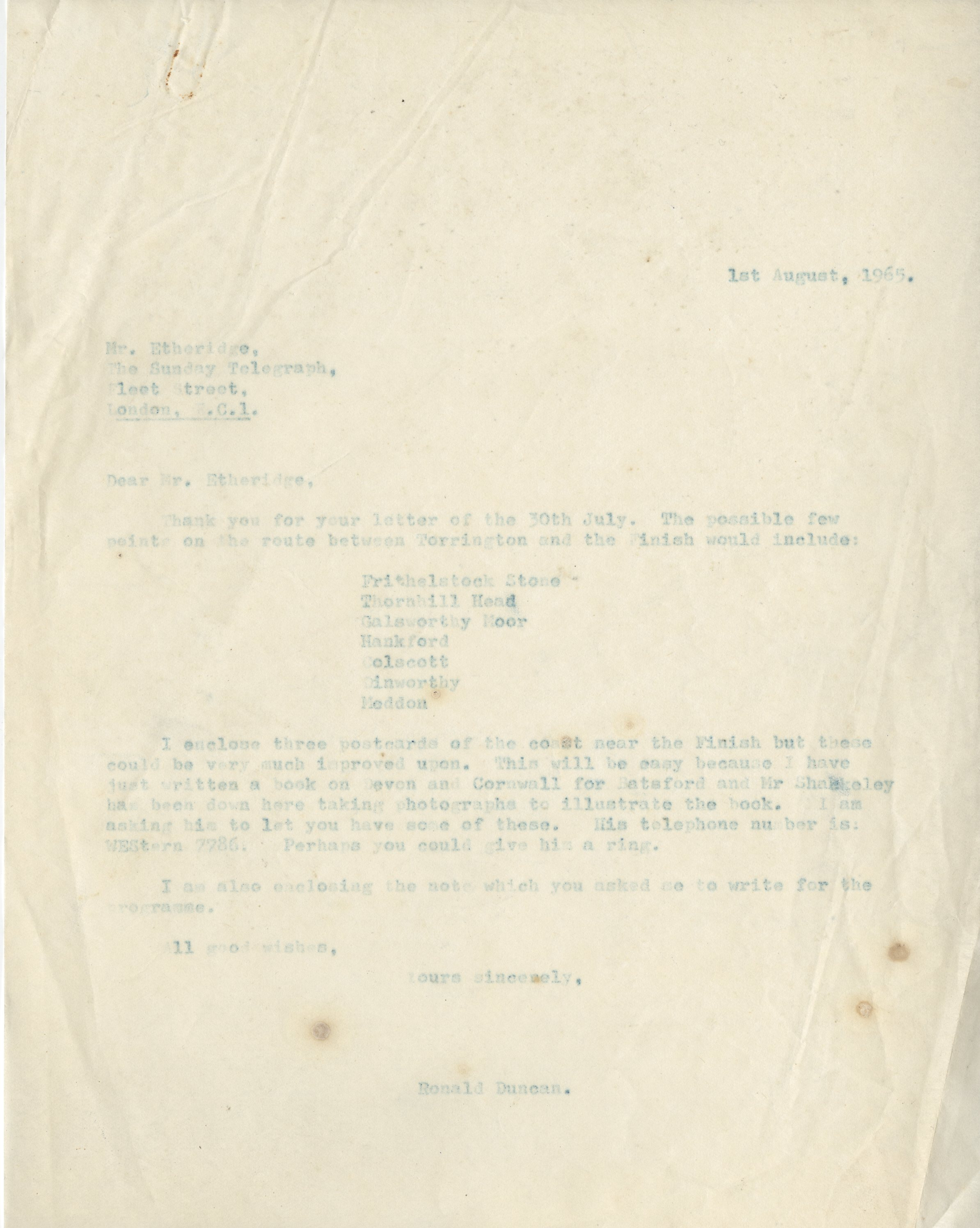 EUL MS 397/1041 Letter from Ronald Duncan to Mr Etheridge of The Sunday Telegraph  (1 August 1965)