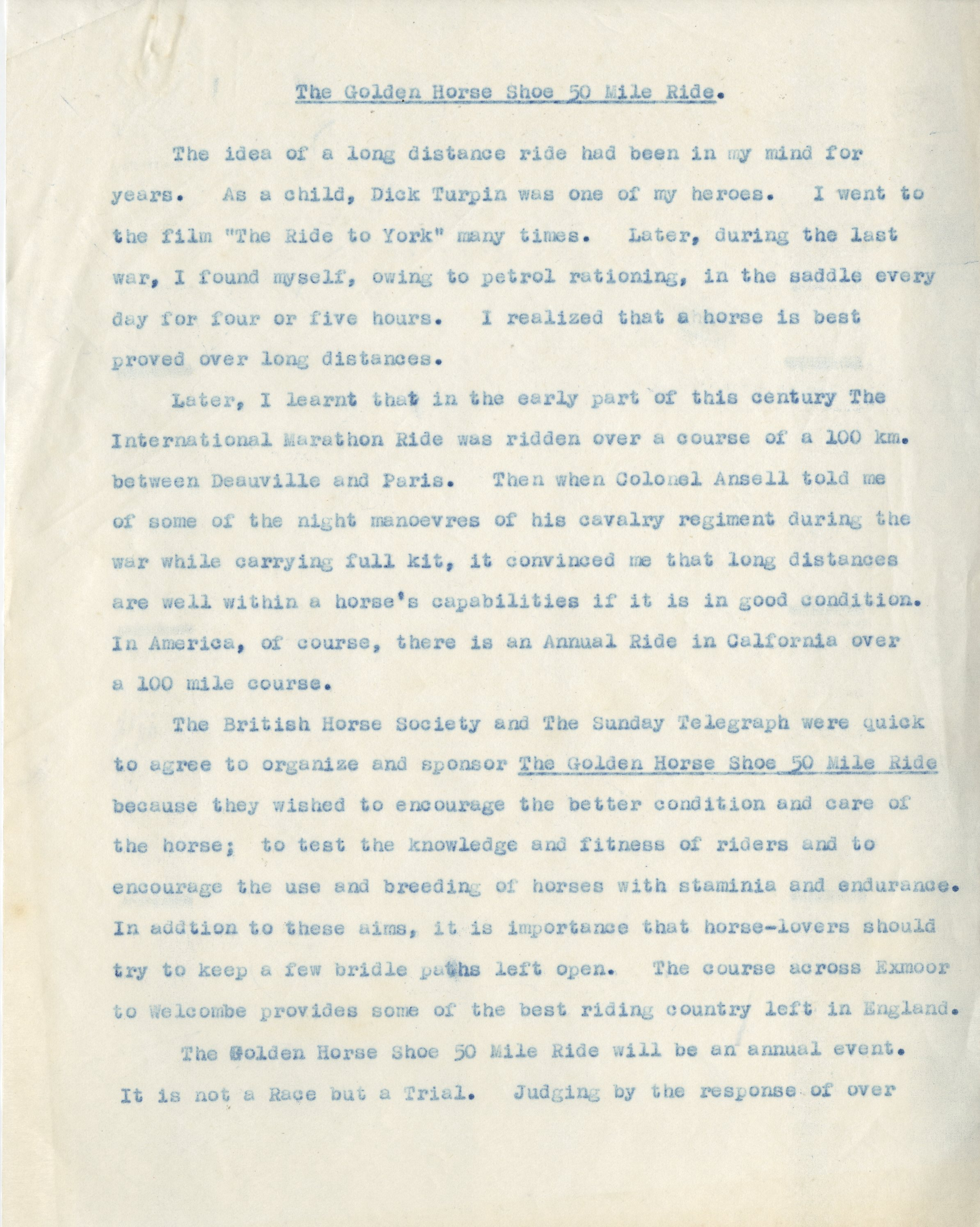 EUL MS 397/1041 Draft introduction for Golden Horseshoe Fifty Mile Ride Programme