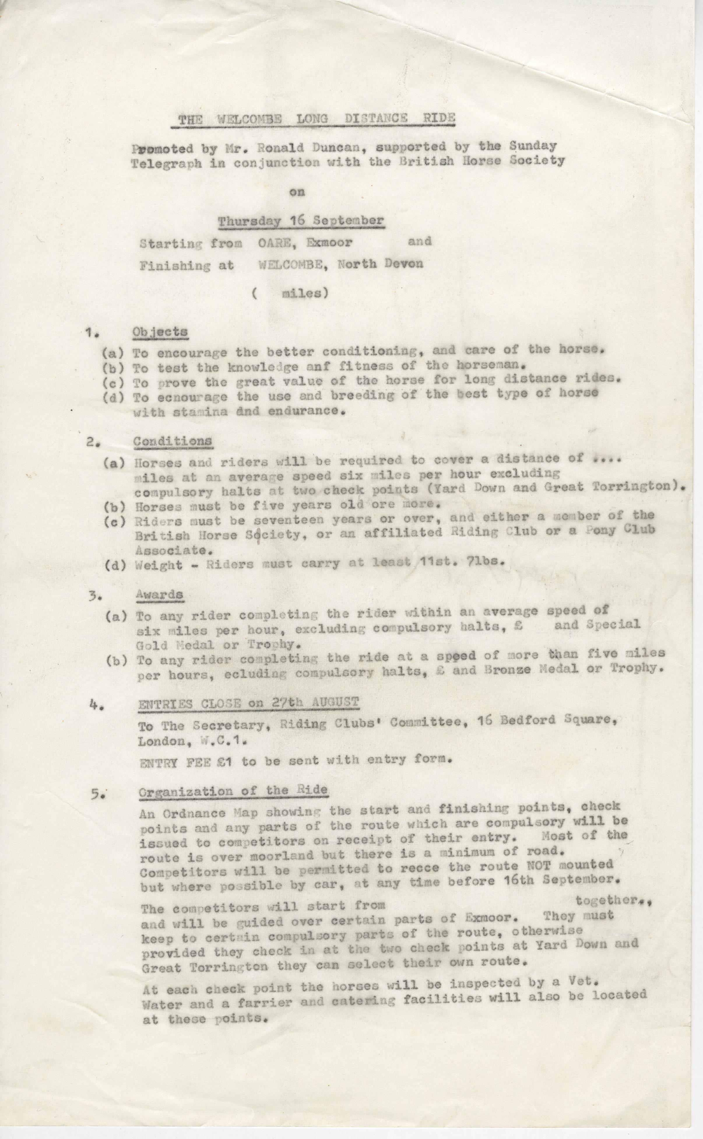 EUL MS 397/1041 Page from a draft programme for Welcombe Long Distance Ride