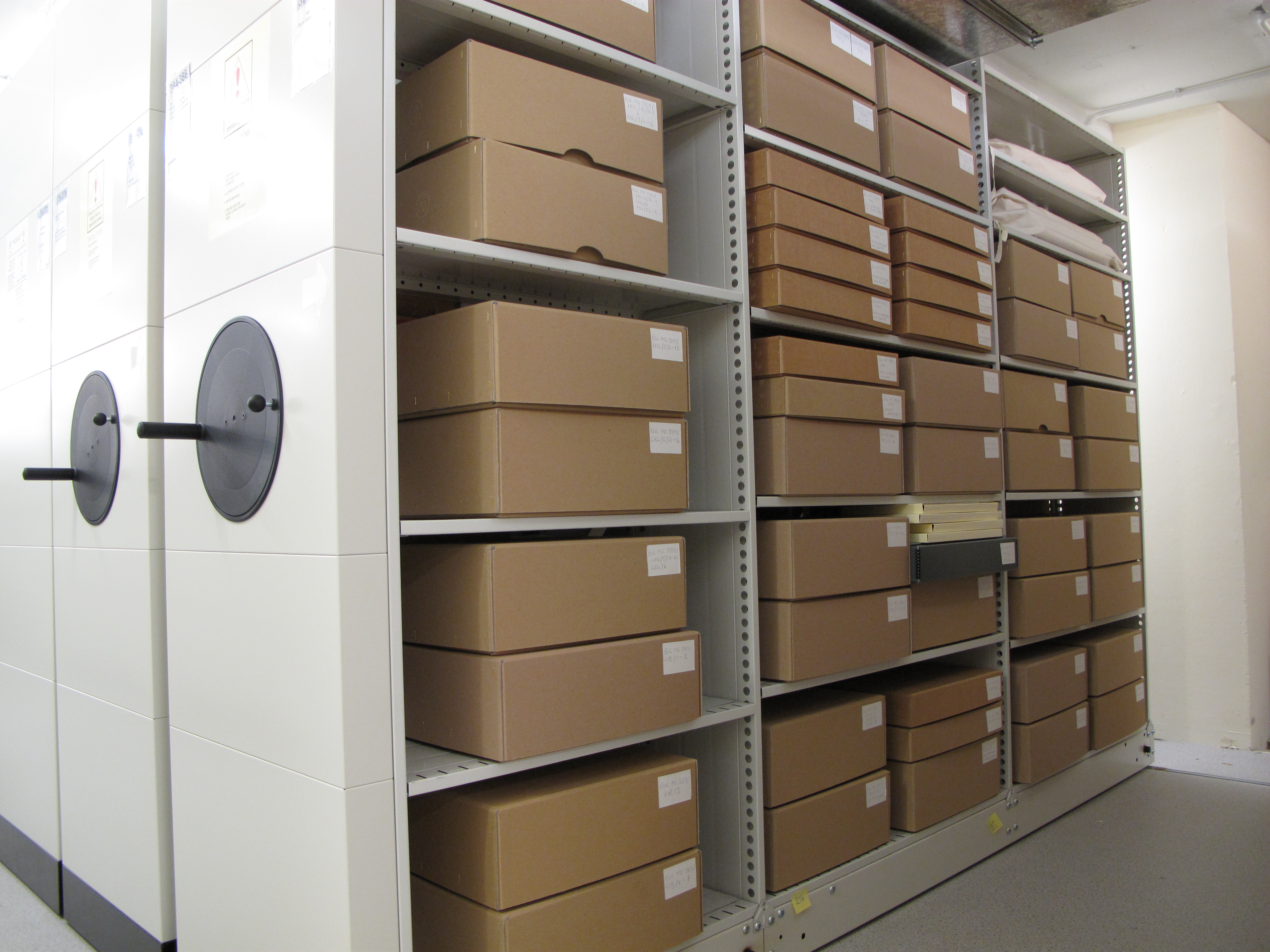 Syon Abbey boxes in the strong room