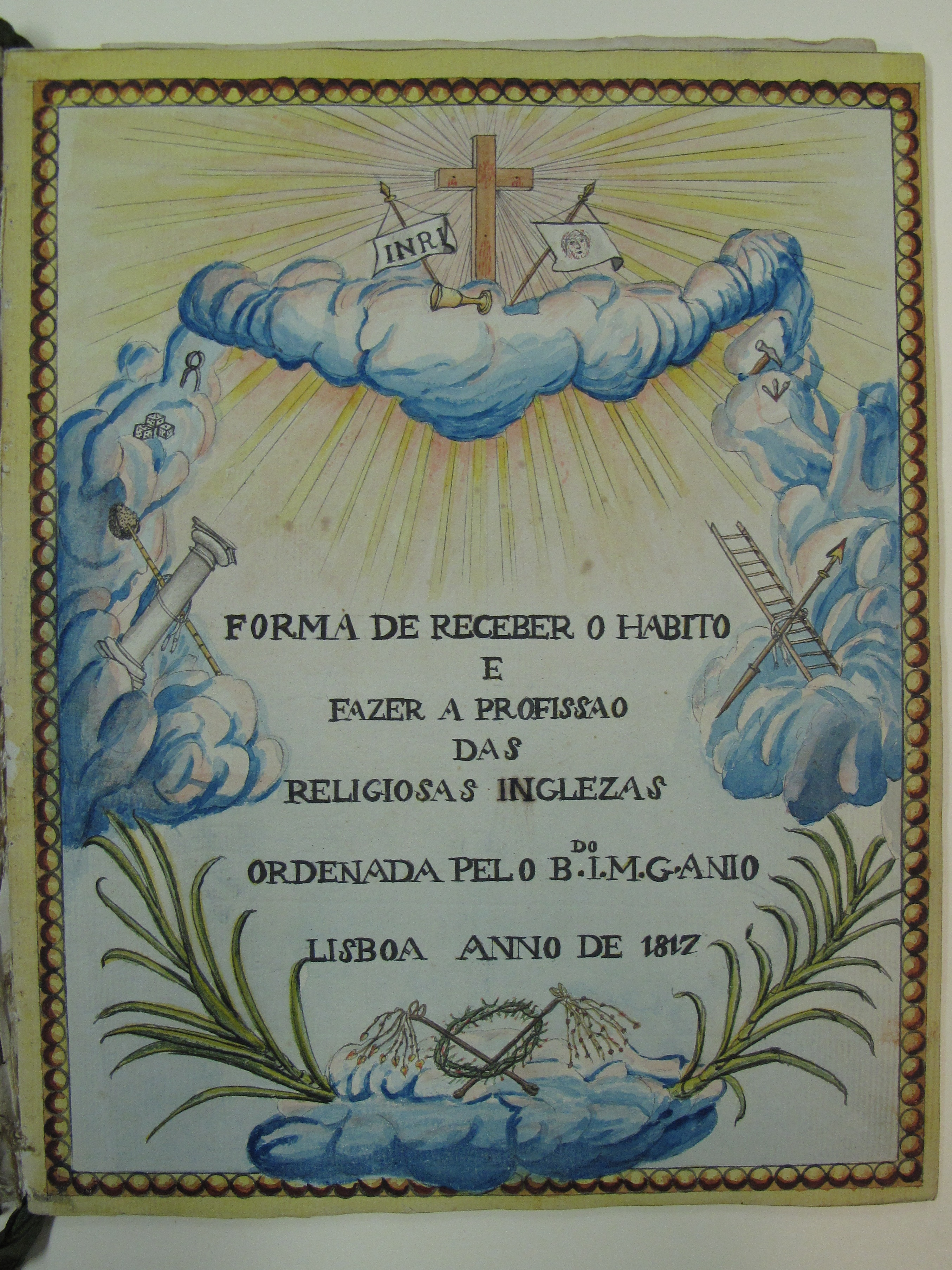 Title page of a manuscript in Portuguese and Latin, concerning the ceremonies of receiving the habit and profession (1817)