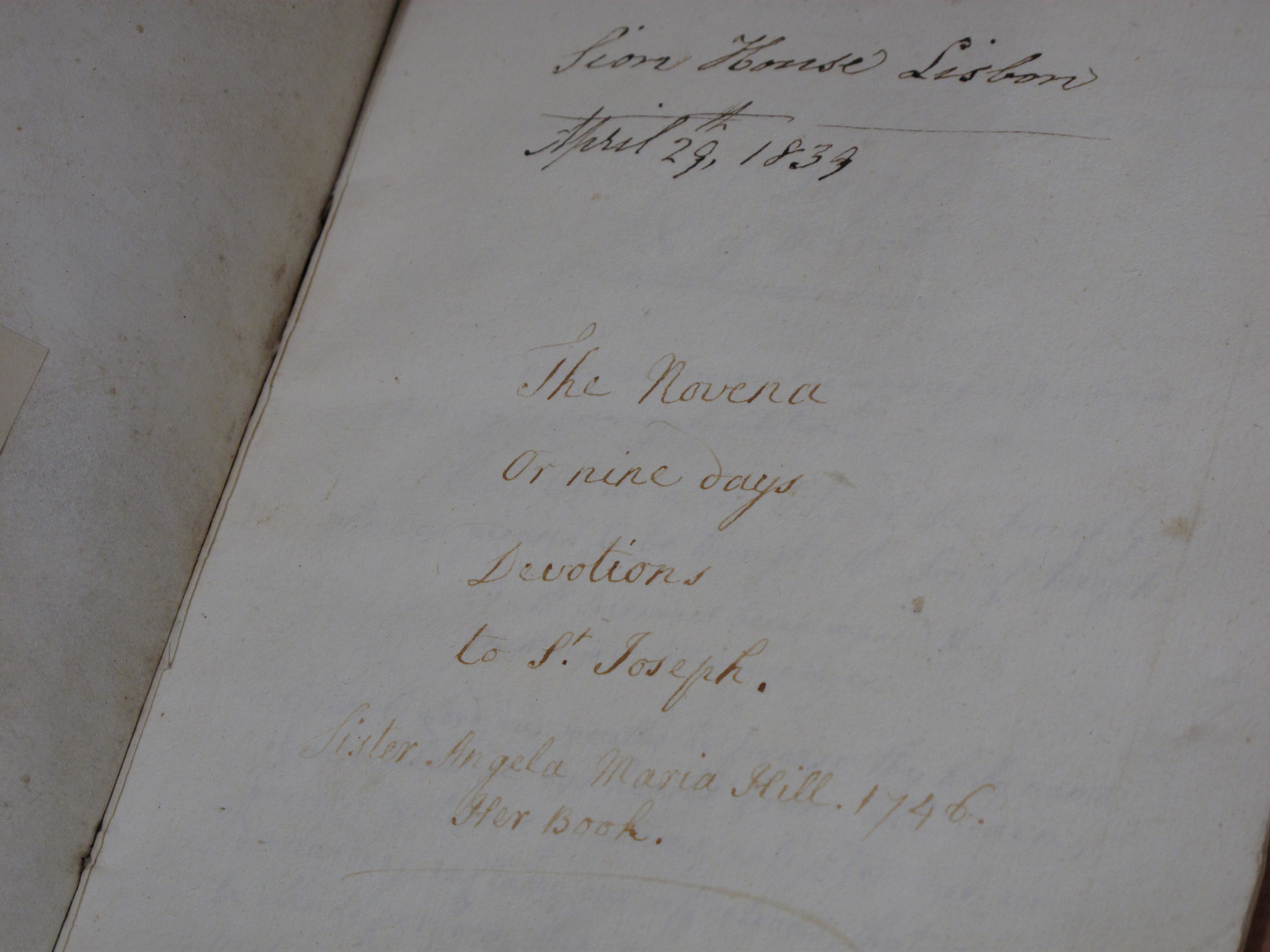 EUL MS 262/add2/16. Title page of a manuscript volume marked 'M.S.16' and entitled 'The Novena or nine days Devotions to St. Joseph', which includes an inscription by the scribe, Sister Angela Hill (1746).