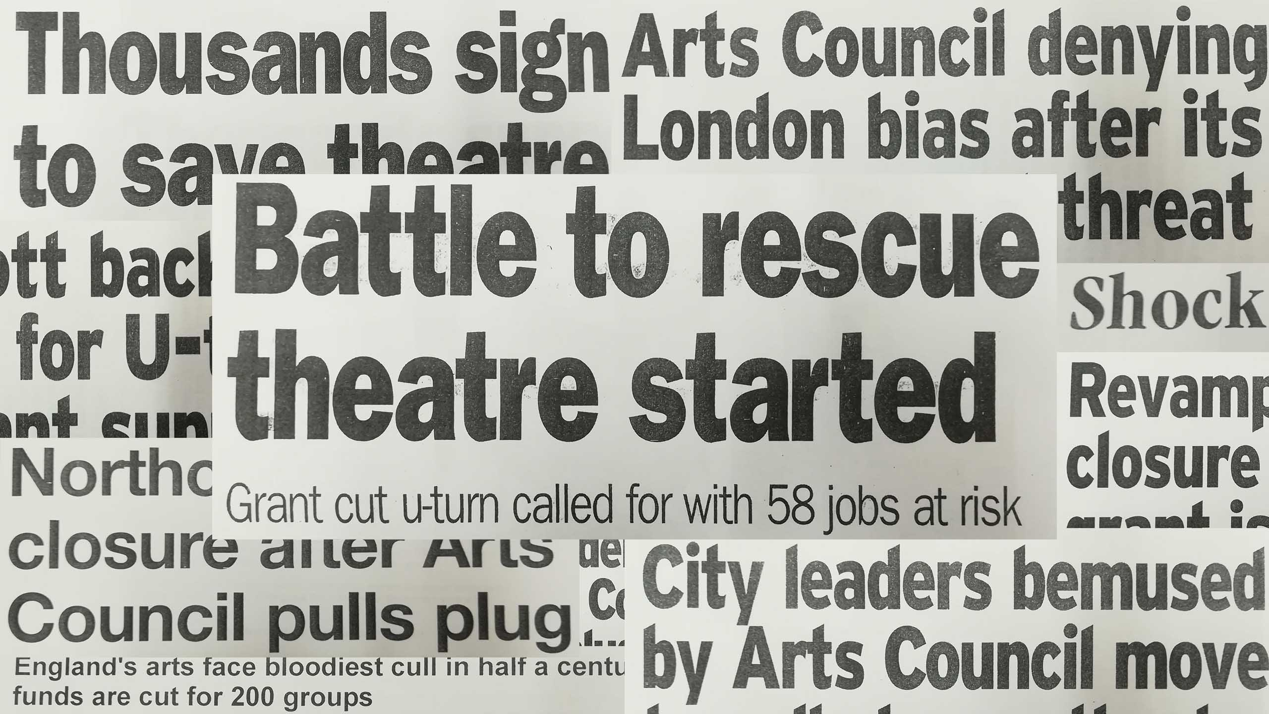 Headlines covering the cuts to the Northcott Theatre's grant