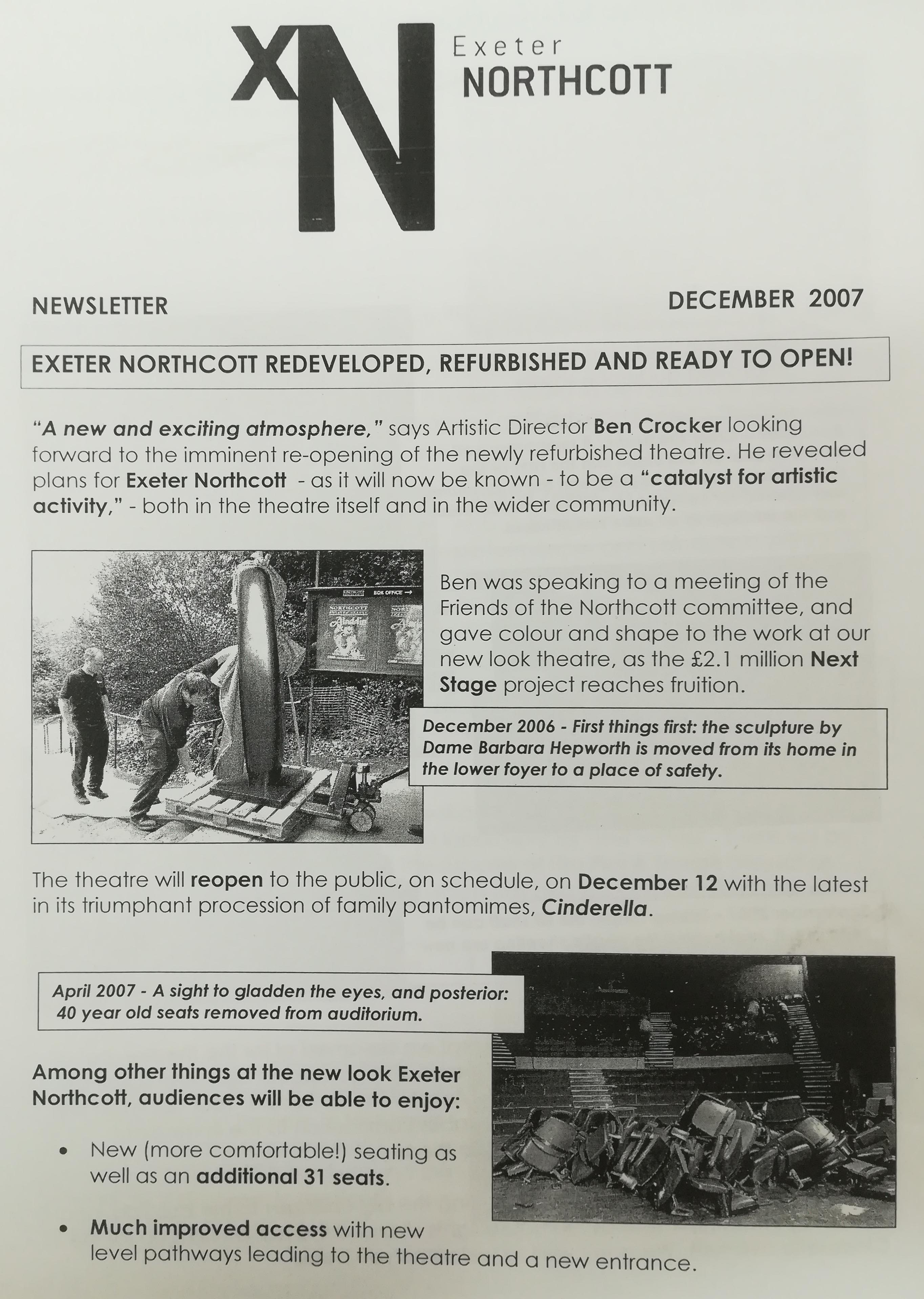 Newsletter from December 2007 announcing the re-opening of the newly refurbished Northcott Theatre