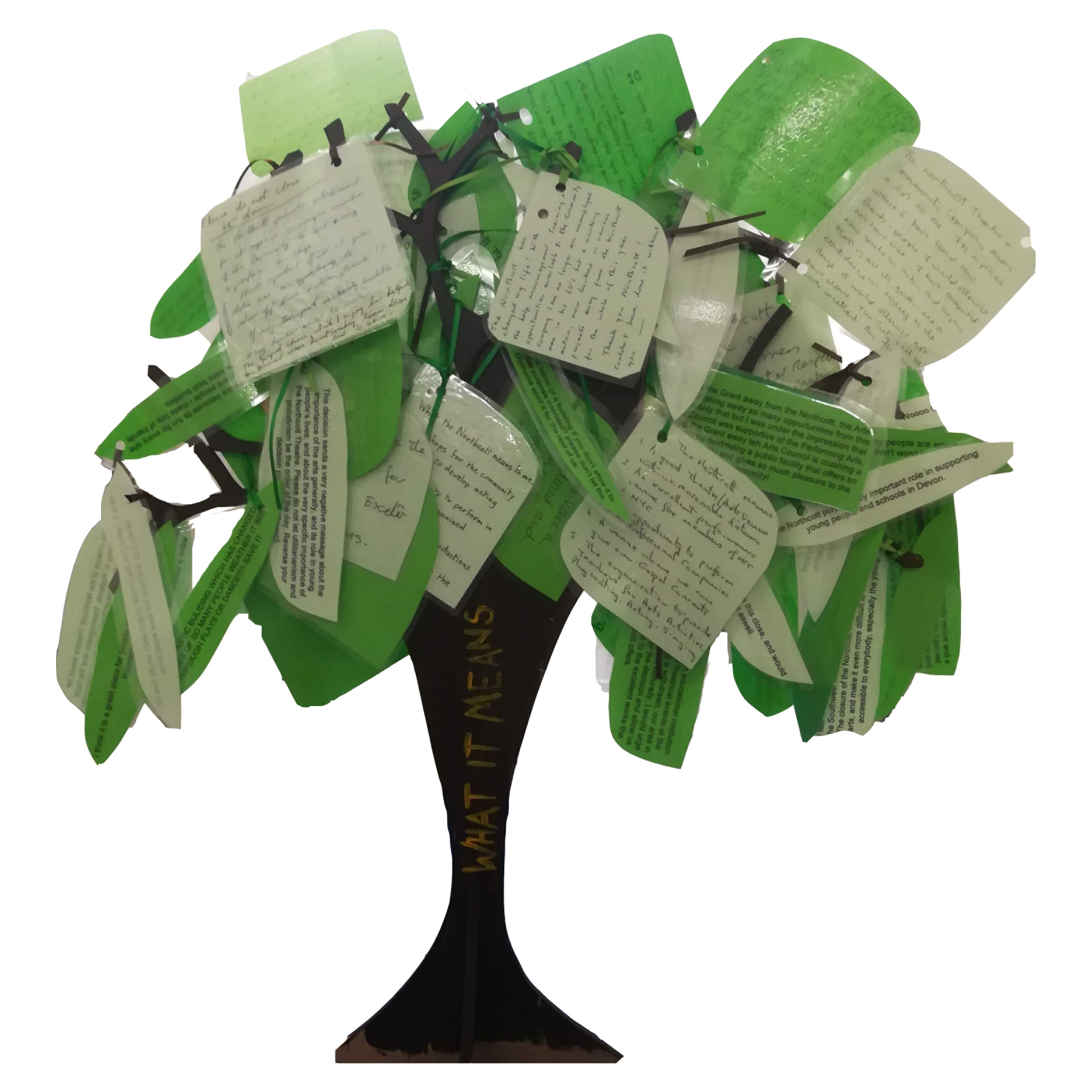 Tree from Save the Northcott campaign - each leaf has the reason why the Northcott is important to the writer on it