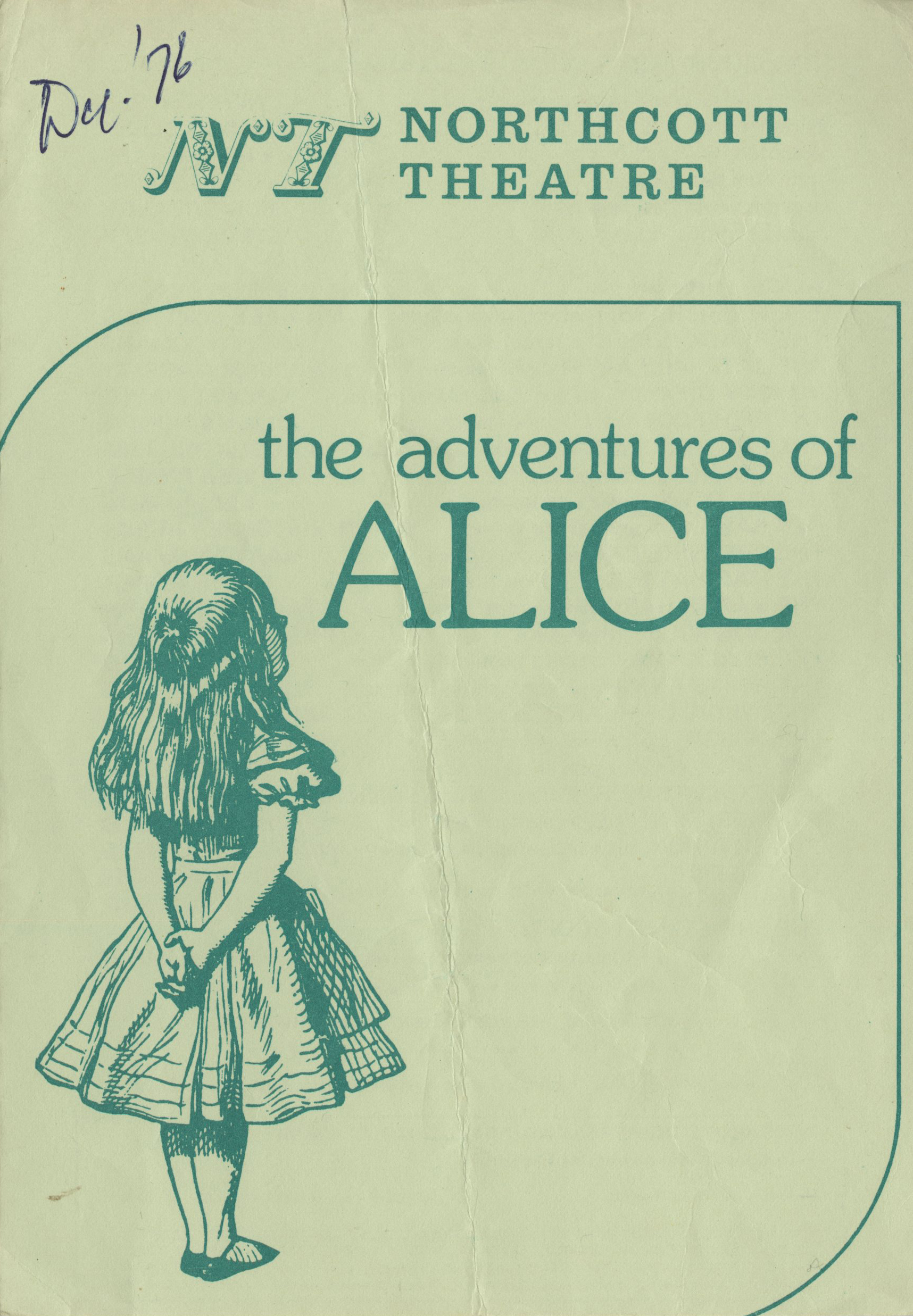 EUL MS 348 - Programme for The Adventures of Alice (1976)