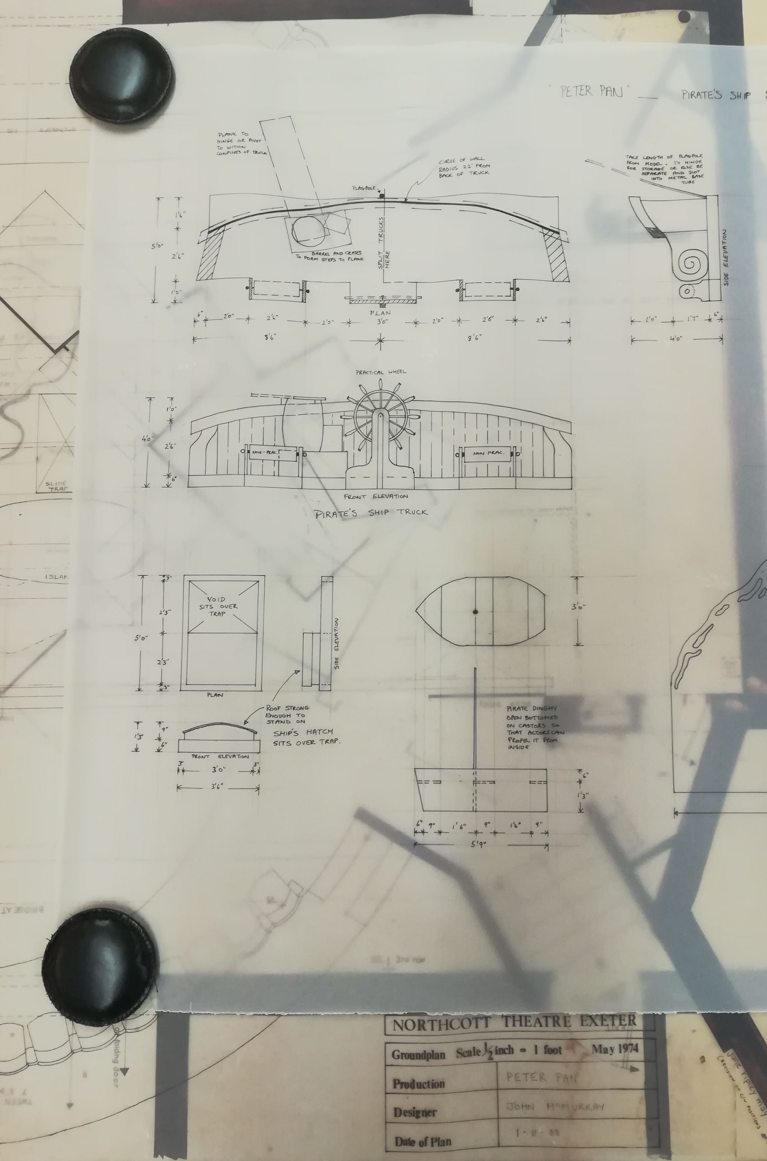 EUL MS 348 - Part of stage design plans for Peter Pan (1988)