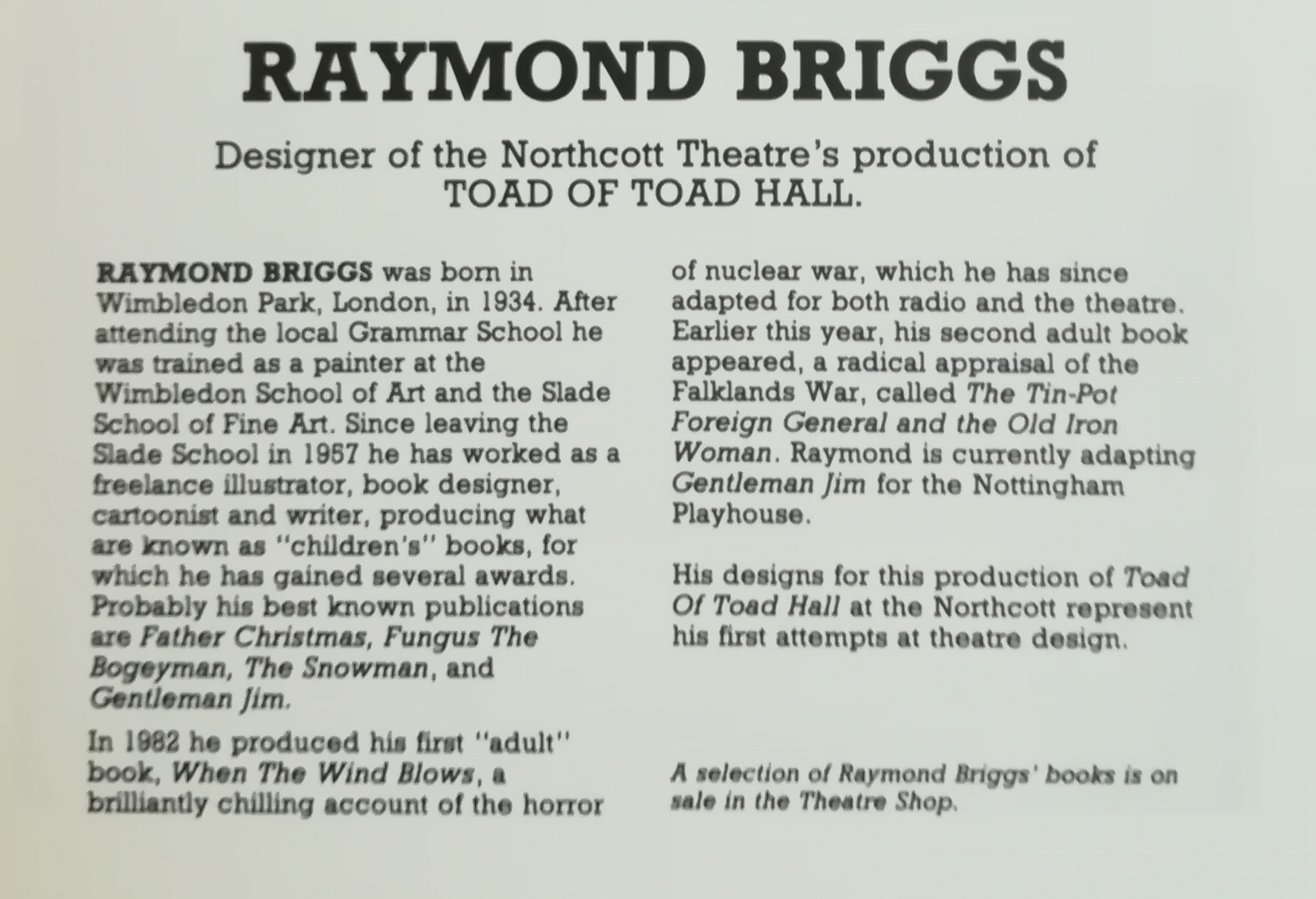 EUL MS 348 - Extract from a programme for Toad of Toad Hall (1984)