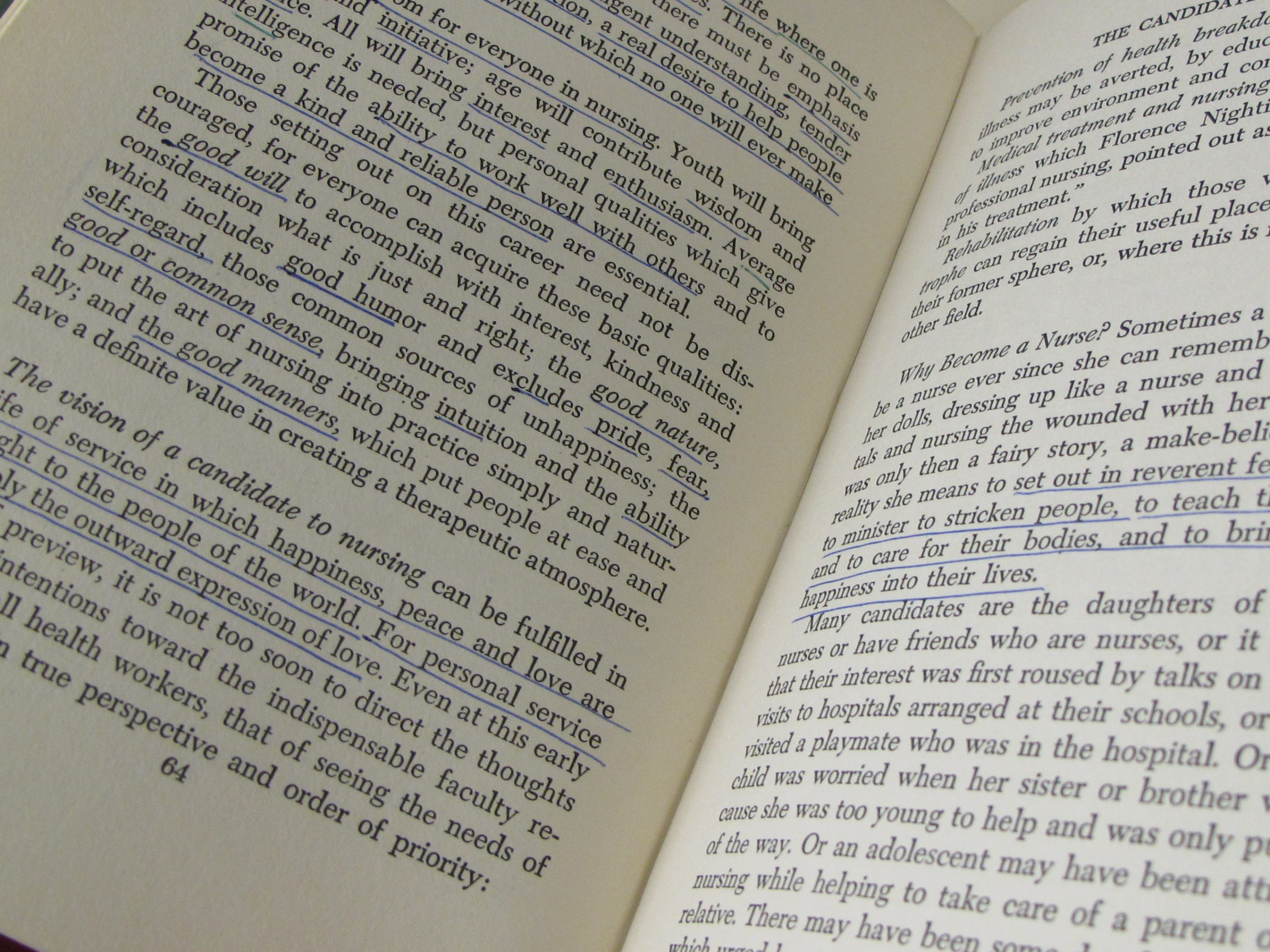 Annotations in EUL MS 472/NEHC/1/63 - 'Nurse and Patient: Human Relations in Nursing' by Evelyn Pearce (1969)